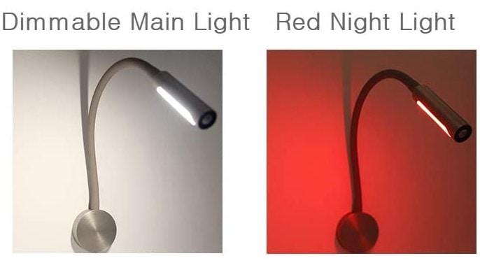 Headboard Reading Light & Lamp red light