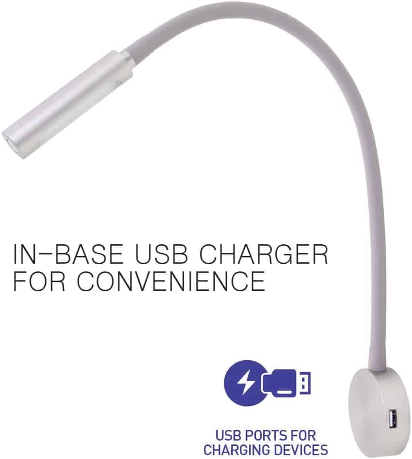 Wall Mounted Bedside Reading Light with USB Charger 3
